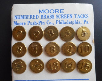 Vintage Brass Number Tacks 1 to 15 Plus 1 to 4, 6 to 9, 11 to 14 Moore Screen Tacks Steampunk Findings Vintage Hardware Jewelry Home Decor