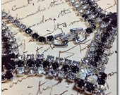 Vintage black and clear rhinestone necklace silver toned setting