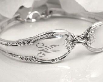 Monogram Bracelet, Monogram Gift, Spoon Bracelet, Silver Spoon Bracelet, Monogram Jewelry, Personalized Bracelet, Gift For Woman