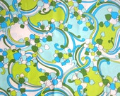 Mod Leaf Fabric, Two Yards of Lime Green, Turquoise, and White Leaf Patterned Fabric by Pattern Rights Inc, Botanical Ivy Vines and Swirls