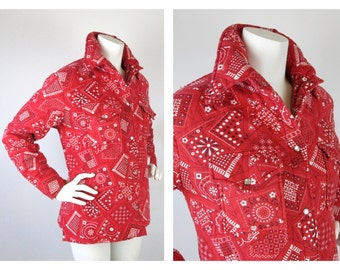Vintage 1960s / 70s Western Cowgirl Quilted Coat, Red Bandanna, Sz M