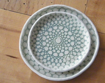 Pair of lace imprint trays with jade