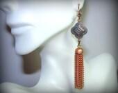 Tassel Earrings Copper Turquoise Quatrefoil Pendant with Chain Long Dangle Drop Gorgeous Bohemian