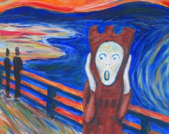The Scream Inspired Painting Of The Hudson Clocktower, 6x6 inches on wood panel, original painting, by Hudson Ohio Artist Karen Koch