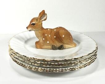 "Vintage Gladstone ""Old Grecian Flute"" Salad Plates,  Fluted Rim, Gold Dot Trim, Bone China"
