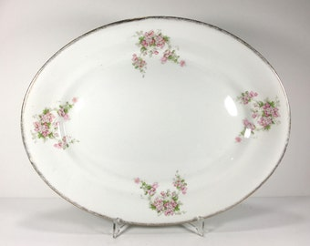 Antique Serving Platter, White with Delicate Pink Flowers, Sponged Gold Border, Florence Cook Pottery Co.