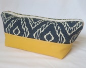 Essential Oils Bag, Case, Holder, Pouch, Essential Oils Travel Bag, Essential Oils Storage, Ikat, Denim, Blue, Yellow, Canvas, Large