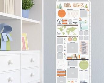 Canvas Growth Chart, Teepee Nursery, Boy Nursery, Nursery Art, Scrapbook growth chart, Boy Bedroom Decor / 13x40 canvas // N-C05 AA2