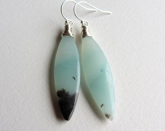 Light Blue Amazonite Marquise Earrings - Sterling Silver Handcrafted Jewelry - Blue and Black Gemstones - Natural Matched Pair Drops