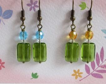 Green Glass Earrings, Peridot Green, Swarovski Crystals, Czech Glass, Clear Crystal Earrings, Antiqued Jewelry