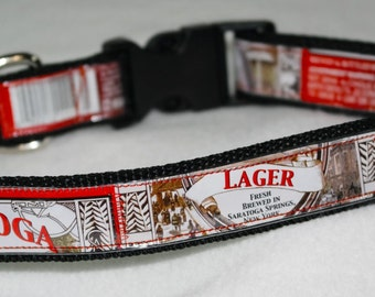 Adjustable Dog Collar from recycled Saratoga Brewing Lager Beer Labels