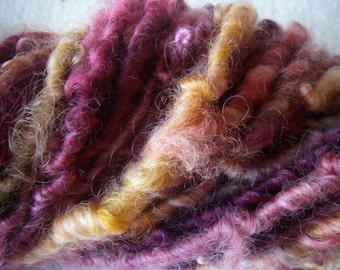 Handspun Hand Dyed Curly Border Leicester Wool Super Bulky Art Yarn in Raspberry and Orange by KnoxFarmFiber for Knit Crochet Felt Weave