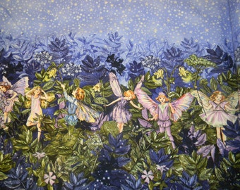Gorgeous Night Fairies Cotton Fabric Boarder Print by Michael Miller Fabric
