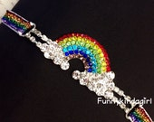 Rainbow Rhinestone Connector Glitter Headband Elastic Sparkle Baby Women Girls Clouds Red Blue Yellow Green Purple Striped