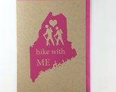 Hike with ME Blank Card with Envelope Silkscreened on Recycled Kraft Paper Compostable Plastic Sleeves