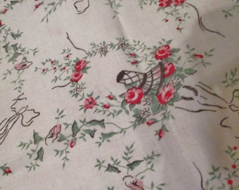 """1930's Feed Sack, Uncut, 36"""" x 20"""" Wide (40"""" Doubled), 1 Hole, Several Light Stains, Floral Bouquets in Basket, FREE SHIPPING."""