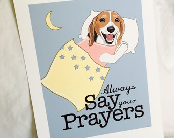 Praying Beagle - 7x9 Eco-friendly Print