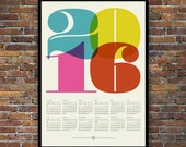 2016 calendar, Mid Century Modern, poster, retro kitchen art, office art print, Eames era, typography poster, graphic design, 50 x 70 poster