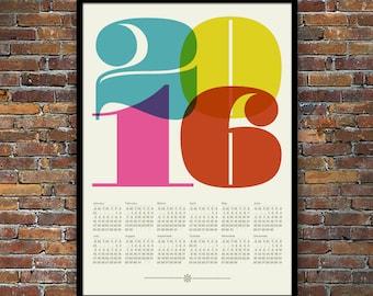2016 calendar, Mid Century Modern, poster, retro kitchen art, office art print, Eames era, typography poster, graphic design, 50 x 70 poster