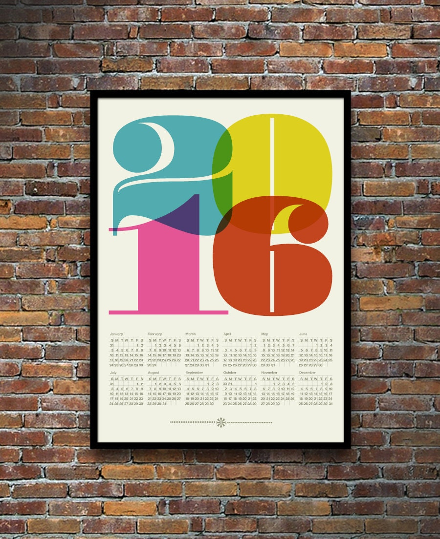 Calendar Poster Design : Calendar mid century modern poster retro kitchen art