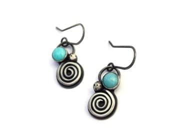 Amazonite Earrings, Sterling Silver Dangle Earrings, Geometric Earrings, Oxidized Silver Earrings, Beach Jewelry, Bohemian Jewerly