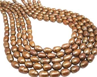 Freshwater Pearl Beads,  Brown Pearls, Potato Shape, SKU 4644