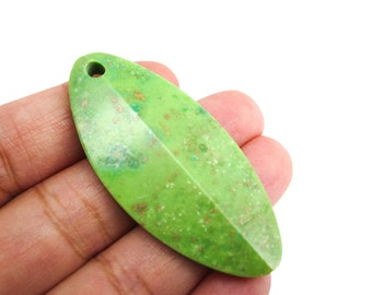Green Turquoise Pendant, Marquise Shape, 24mm x 52mm, SKU 3832