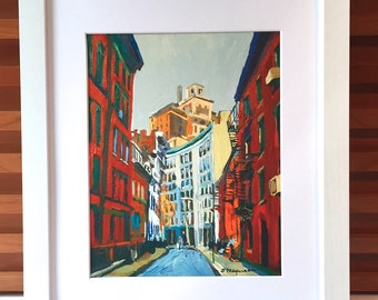Gay Street Greenwich Village NYC Fine Art Print 8x10 11x14 12x16 White Frame Black Frame New York Cityscape Skyline Painting Gwen Meyerson