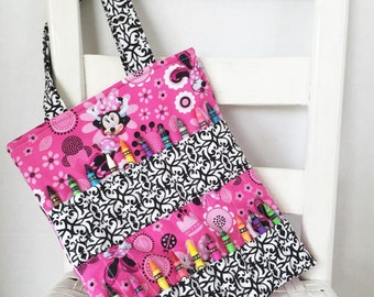 Hot Pink Disney Minnie Mouse Pink Crayon Bag Children Coloring Tote Child Crafting Toddler Girl Birthday Gift