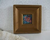 Vintage Miniature Painting Blue Purple Red Flowers Original Art Mini 2 x 2 inch Painting Framed Art Painting