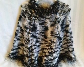 READY TO SHIP. Little Girl Poncho. Knit Poncho. Black. Gray. White. Multi Colored. Black Eyelash Yarn. Knit Cape. Chilly Weather Poncho.