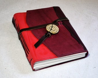 Discounted Medium Cheery Leather Journal with Recycled Paper
