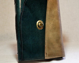 Medium Sea Green Leather Journal with Handmade Paper