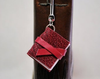Mini Raspberry Leather Book Bookmark