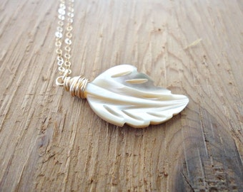 Long Feather Necklace, Long Pendant Necklace, Mother of Pearl Leaf Necklace, 14K Gold Filled Necklace, Simple Pendant, Layering Jewelry