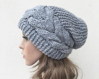 Hand knit hat Oversized Chunky Wool Hat slouchy hat grey cable hat