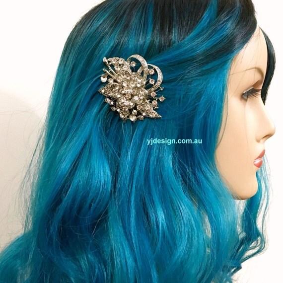 Vines Bridal Hair Comb, Crystal Wedding Hair Comb, Flower Wedding Headpiece, Bridal Hair Jewelry, Swarovski Bridal Headpiece, BOUQUET