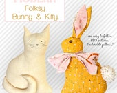 Bunny and Kitty Pillow PDF Sewing Pattern Modern Folksy Bunny and Kitty