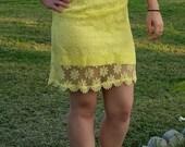 Vintage 1960s Size 7 Yellow Lace Mini Dress