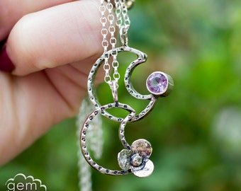 Moon Pendant with Gemstones in sterling silver - Baby Moon -