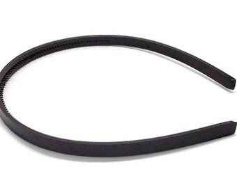 12 Black Plastic Headband Blanks - with Teeth - 7mm (1/4 inch)