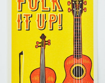 Folk It Up! : Limited Edition Letterpress Linocut Print