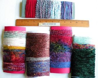 Scrapbooking yarn lot embellishments, fiber art bundle destash sample variety pack cards, purple green red blue jewelry supply i684