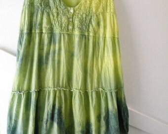 Sundress, summer sleeveless dress, women's size 10 12 medium large M L, tiered lace cotton gauze tie-dye yellow blue-green hippie boho