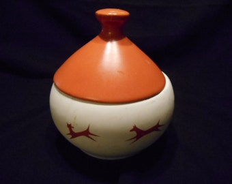 Vintage  McCoy Upjohn Unipet Covered Pet Treat Container
