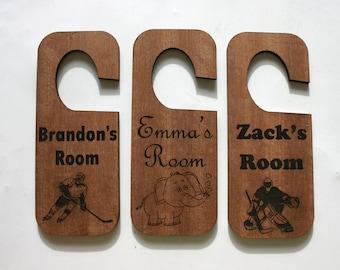 Personalized Door Hanger Laser Engraved Wood Sign Custom Etched Room Sign