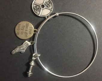 Silver plated bangle with Workout/Exercise Charms