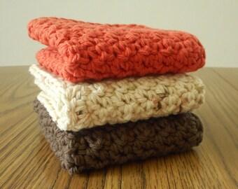 3 Crochet Washcloths in Bark