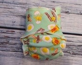 One Size Stay Dry Overnight Fitted Cloth Diaper in Bacon and Eggs