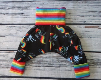 Grow With Me Harem Pants in Rainbow Pony for Ages 6 Months to 4 Years by Soothe Baby